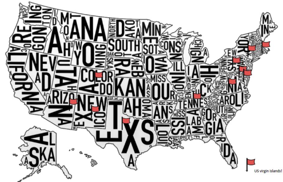E4USA partners on a map